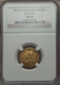 Colombia, Colombia: Republic gold Escudo 1823-JF AU50 NGC,...