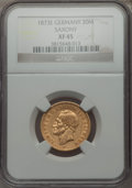 German States:Saxony, German States: Saxony. Johann V gold 20 Mark 1873-E XF45 NGC,...