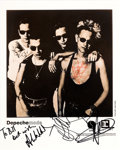 Music Memorabilia:Autographs and Signed Items, Depeche Mode Signed Promotional Photo (1990)....