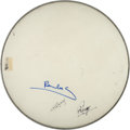 Music Memorabilia:Autographs and Signed Items, Beatles - Paul, George, and Ringo Signed Ludwig Drumhead....