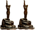Books:Furniture & Accessories, [Bookends]. Pair of Matching Bronze Bookends Depicting Stonemason with Nude. Bronze Met, 1926.... (Total: 2 Items)