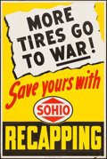 "Movie Posters:War, World War II Propaganda (Standard Oil, 1945). War ConservationPoster (28"" X 42"") ""More Tires Go to War!"" War.. ..."