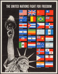 """Movie Posters:War, World War II Propaganda (U.S. Government Printing Office, 1942).Propaganda Poster (22"""" X 28"""") """"The United Nations Fight for..."""