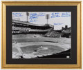 Baseball Collectibles:Photos, New York Giants Greats Multi Signed Oversized Photograph....