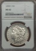 Morgan Dollars: , 1898-S $1 MS62 NGC. NGC Census: (451/1362). PCGS Population (654/2912). Mintage: 4,102,000. Numismedia Wsl. Price for probl...