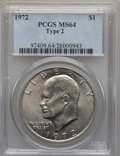 Eisenhower Dollars, 1972 $1 Type Two MS64 PCGS. PCGS Population (534/83). Numismedia Wsl. Price for problem free NGC/PCGS c...
