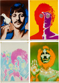 Music Memorabilia:Posters, Beatles - Full Set of Richard Avedon Psychedelic Posters With Black& White Streamer Poster (1968).... (Total: 5 )