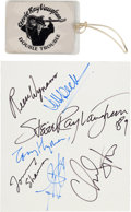 """Music Memorabilia:Autographs and Signed Items, Stevie Ray Vaughan & Jeff Beck Signatures from """"The Fire Meetsthe Fury"""" Tour with Stevie Ray Vaughan Backstage Pass (1989)...."""