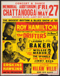 Music Memorabilia:Posters, Drifters/LaVerne Baker/Roy Hamilton Concert Poster, Chattanooga, TN(1955)....