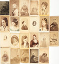 Photography:CDVs, [Early Photography]. Group of Twenty-Two Cartes De Visites, Featuring Portraits of Various Women. Various publishers, Circa ...