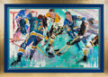 """Hockey Collectibles:Others, 1968 """"The Blues and the Bruins"""" Original Painting by LeRoy Neiman--Featuring Bobby Orr...."""