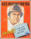 "Movie Posters:War, World War II Propaganda (U.S. Government Printing Office, 1943).War Stamps Poster (22"" X 28"") ""He's Fighting for You."" War...."