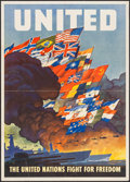 "Movie Posters:War, World War II Propaganda (U.S. Government Printing Office, 1943).OWI Poster No. 79 (16"" X 22.5"") ""United: The United Nations..."
