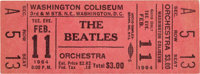 Beatles Unused Ticket From First US Concert, Washington DC (1964)
