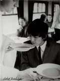 Music Memorabilia:Photos, Beatles - Signed Astrid Kirchherr Photograph of George Harrison(1964)....