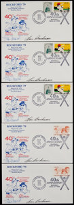 Baseball Collectibles:Others, Stan Musial and Lou Boudreau Signed First Day Covers Lot of 5....