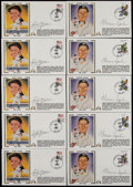Baseball Collectibles:Others, Warren Spahn and Early Wynn Signed First Day Covers Lot of 10....