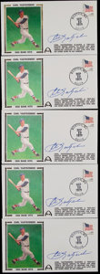 Baseball Collectibles:Others, Carl Yastrzemski Signed First Day Covers Lot of 5....