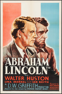 "Abraham Lincoln (Artcinema Associates, R-1937). One Sheet (27"" X 41""). Drama"