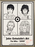"Music Memorabilia:Posters, John Entwistle Signed ""The Who - 2000"" Art Exhibit Poster, Framed...."