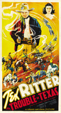 "Movie Posters:Western, Trouble in Texas (Grand National, 1937). Three Sheet (41"" X 81"")...."