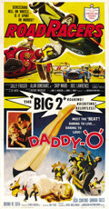 "Movie Posters:Action, Daddy ""O""/RoadRacers Combo (American International, 1958). Three Sheet (41"" X 81""). ..."