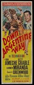 """Movie Posters:Comedy, Down Argentine Way (20th Century Fox, 1940). Insert (14"""" X 36""""). Don Ameche, Carmen Miranda and Betty Grable star in this ch..."""