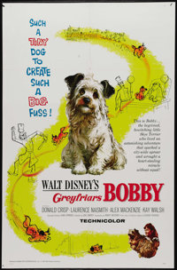 "Greyfriars Bobby (Buena Vista, 1961). One Sheet (27"" X 41""). The true story of Bobby, a Skye terrier who refus..."