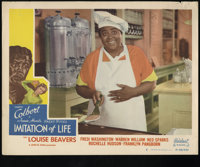 "Imitation of Life (Realart, R-1949). Lobby Cards (3) (11"" X 14""). Claudette Colbert and Louise Beavers star in..."