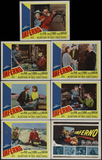 "Inferno (20th Century Fox, 1953). Title Lobby Card (11"" X 14"") and Lobby Cards (6) (11"" X 14""). Rhon..."