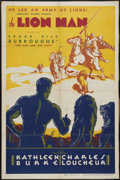 "Movie Posters:Adventure, Lion Man (Normandy, 1936). One Sheet (27"" X 41"") and Pressbook.Rare poster and pressbook for Edgar Rice Burroughs' story ab...(Total: 2 Items)"