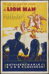 """Lion Man (Normandy, 1936). One Sheet (27"""" X 41"""") and Pressbook. Rare poster and pressbook for Edgar Rice Burro..."""