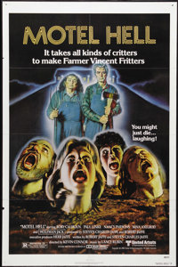 "Motel Hell (United Artists, 1980). One Sheet (27"" X 41""). ""There's too many people in the world and not e..."