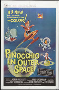 "Movie Posters:Animated, Pinocchio In Outer Space (Universal, 1965). One Sheet (27"" X 41""). When he misbehaves (again!), Pinocchio is turned back int..."