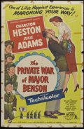 "Movie Posters:Comedy, The Private War of Major Benson (Universal International, 1955). One Sheet (27"" X 41""). Charlton Heston is a brash army majo..."