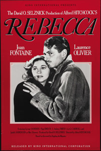 "Rebecca (United Artists, R-1980s). One Sheet (27"" X 41""). Alfred Hitchcock's first American film and his only..."