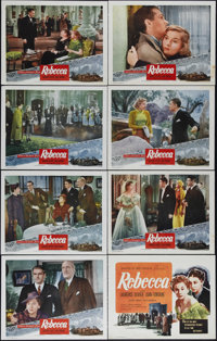 "Rebecca (United Artists, R-1950s) Lobby Card Set of 8 (11"" X 14""). Laurence Olivier, Joan Fontaine and Judith..."