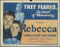 "Movie Posters:Hitchcock, Rebecca (United Artists, R-1948). Title Lobby Card (11"" X 14"") andLobby Card (11"" X 14""). Laurence Olivier stars with Joan ...(Total: 2 Items)"