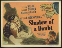 "Shadow of a Doubt (Realart, R-1950). Title Lobby Card (11"" X 14""). Every family has an uncle whose latest misd..."