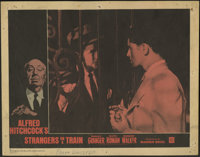 """Strangers on a Train (Warner Brothers, R-1961). Lobby Cards (3) (11"""" X 14""""). Alfred Hitchcock thriller about t..."""