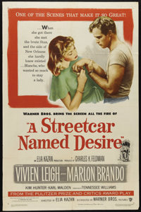 "A Streetcar Named Desire (Warner Brothers, 1951). One Sheet (27"" X 41""). Marlon Brando became the movies' firs..."