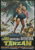 "Movie Posters:Adventure, Tarzan's Greatest Adventure (Paramount, 1959). Insert (14"" X 36"")and Spanish Poster (26"" X 38""). Tarzan (Gordon Scott) trac...(Total: 2 Items)"