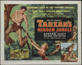 "Movie Posters:Adventure, Tarzan's Hidden Jungle (RKO, 1955). Half Sheet (22"" X 28"") Style A.Tarzan (Gordon Scott) must act quickly to protect sacred..."