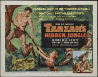 "Tarzan's Hidden Jungle (RKO, 1955). Half Sheet (22"" X 28"") Style A. Tarzan (Gordon Scott) must act quickly to..."