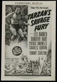 """Tarzan Lot (MGM, 1950s-1960s). Pressbooks (Multiple Pages). Titles in this lot are """"Tarzan's Savage Fury,"""" &qu..."""