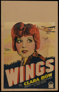 """Movie Posters:War, Wings (Paramount, 1927). Window Card (14"""" X 22""""). Clara Bow starsin this high flying, groundbreaking aviation masterpiece. ..."""