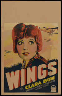 """Wings (Paramount, 1927). Window Card (14"""" X 22""""). Clara Bow stars in this high flying, groundbreaking aviation..."""