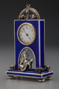 Silver Smalls:Other , A Continental Silver, Enamel and Rhinestone Desk Clock, late 19thcentury. Marks: STERLING, A, (figurehead), LW. 4 i...
