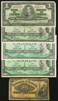 Canadian Currency: , Canada 25¢ and $1 Notes. ... (Total: 5 notes)