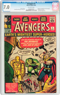 Silver Age (1956-1969):Superhero, The Avengers #1 (Marvel, 1963) CGC FN/VF 7.0 Off-white pages....